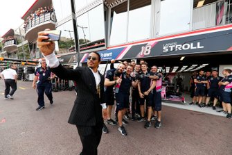 Restauranteur Salt Bae in the paddock with Racing Point team personnel