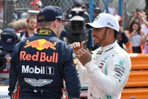 Max Verstappen, Red Bull Racing, talks with Lewis Hamilton, Mercedes AMG F1, after Qualifying