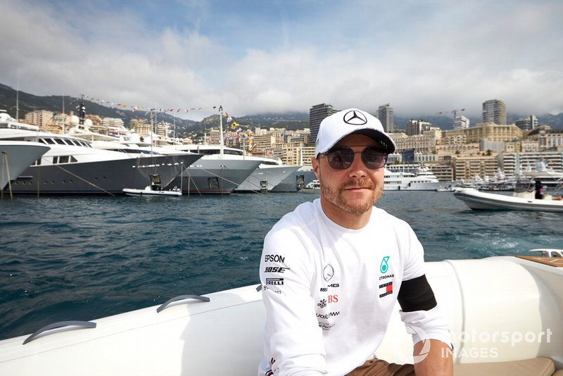 Valtteri Bottas, Mercedes AMG F1, on a boat