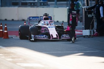 Sergio Perez, Racing Point RP19, in the pit lane