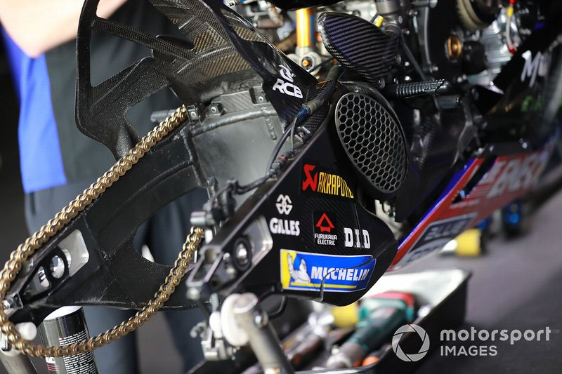 Detail on the bike of Valentino Rossi, Yamaha Factory Racing