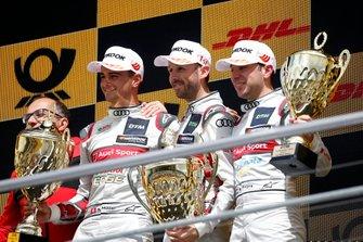Podium: Race winnaar René Rast, Audi Sport Team Rosberg, tweede Nico Müller, Audi Sport Team Abt Sportsline, Robin Frijns, Audi Sport Team Abt Sportsline