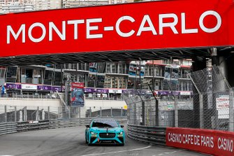 2016 F1 World Champion, Nico Rosberg, electrifies the streets of Monaco in Jaguar I-PACE eTROPHY racecar with H.S.H. Prince Albert of Monaco as his passenger