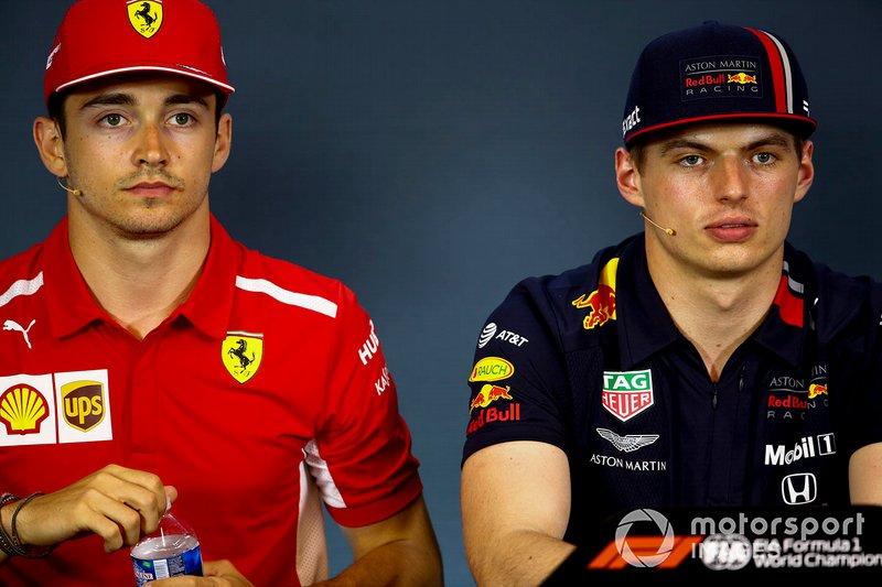 Charles Leclerc, Ferrari et Max Verstappen, Red Bull Racing, en conférence de presse