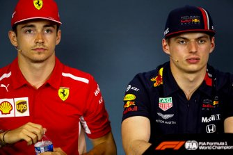 Charles Leclerc, Ferrari e Max Verstappen, Red Bull Racing alla conferenza stampa