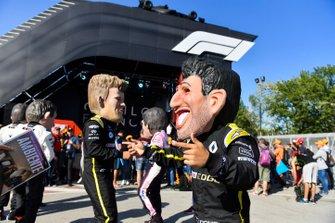 Caricatures of Nico Hulkenberg, Renault F1 Team, and Daniel Ricciardo, Renault