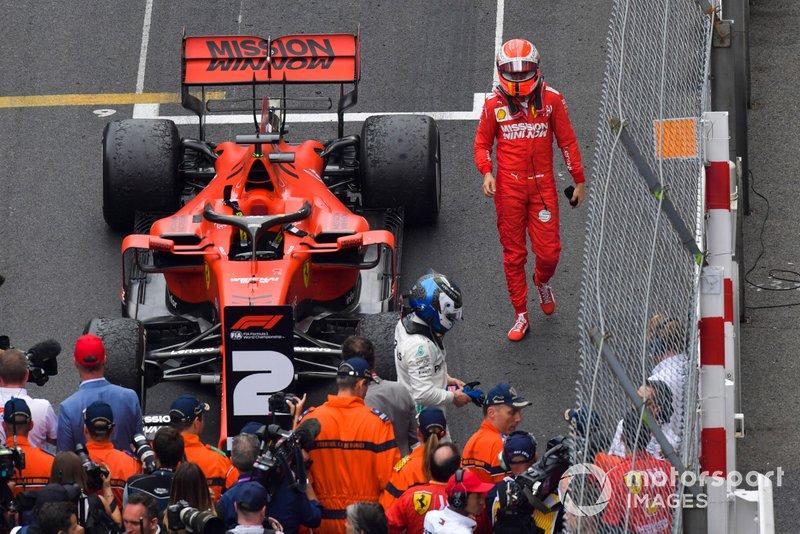 Sebastian Vettel, Ferrari, seconda posizione, al Parc Ferme
