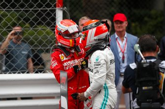 Lewis Hamilton, Mercedes AMG F1, 1st position, is congratulated by Sebastian Vettel, Ferrari, 2nd position