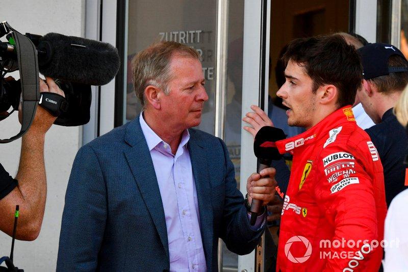 Martin Brundle, Sky TV intervista Charles Leclerc, Ferrari in Parc Ferme dopo la gara