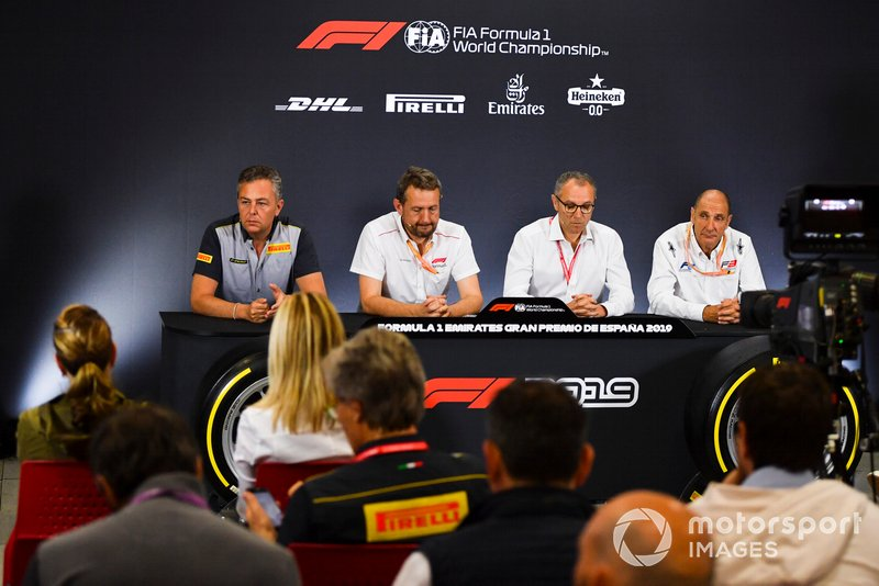 Mario Isola, Racing Manager, Pirelli Motorsport, Steve Nielsen, Stefano Domenicali and Bruno Michel in Press Conference for new F2 tyres