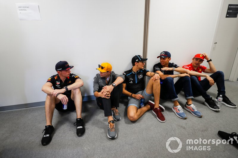 Max Verstappen, Red Bull Racing, Lando Norris, McLaren, George Russell, Williams Racing, Alexander Albon, Toro Rosso, and Charles Leclerc, Ferrari