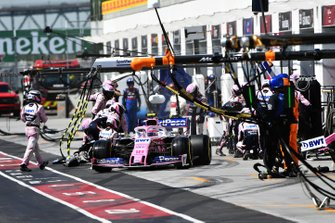 Lance Stroll, Racing Point RP19, leaves his pit box after a stop