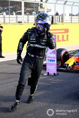 Pole man Lewis Hamilton, Mercedes, celebrates on arrival in Parc Ferme
