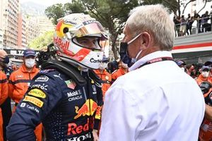 Max Verstappen, Red Bull Racing, 1st position, celebrates with Helmut Marko, Consultant, Red Bull Racing, in Parc Ferme