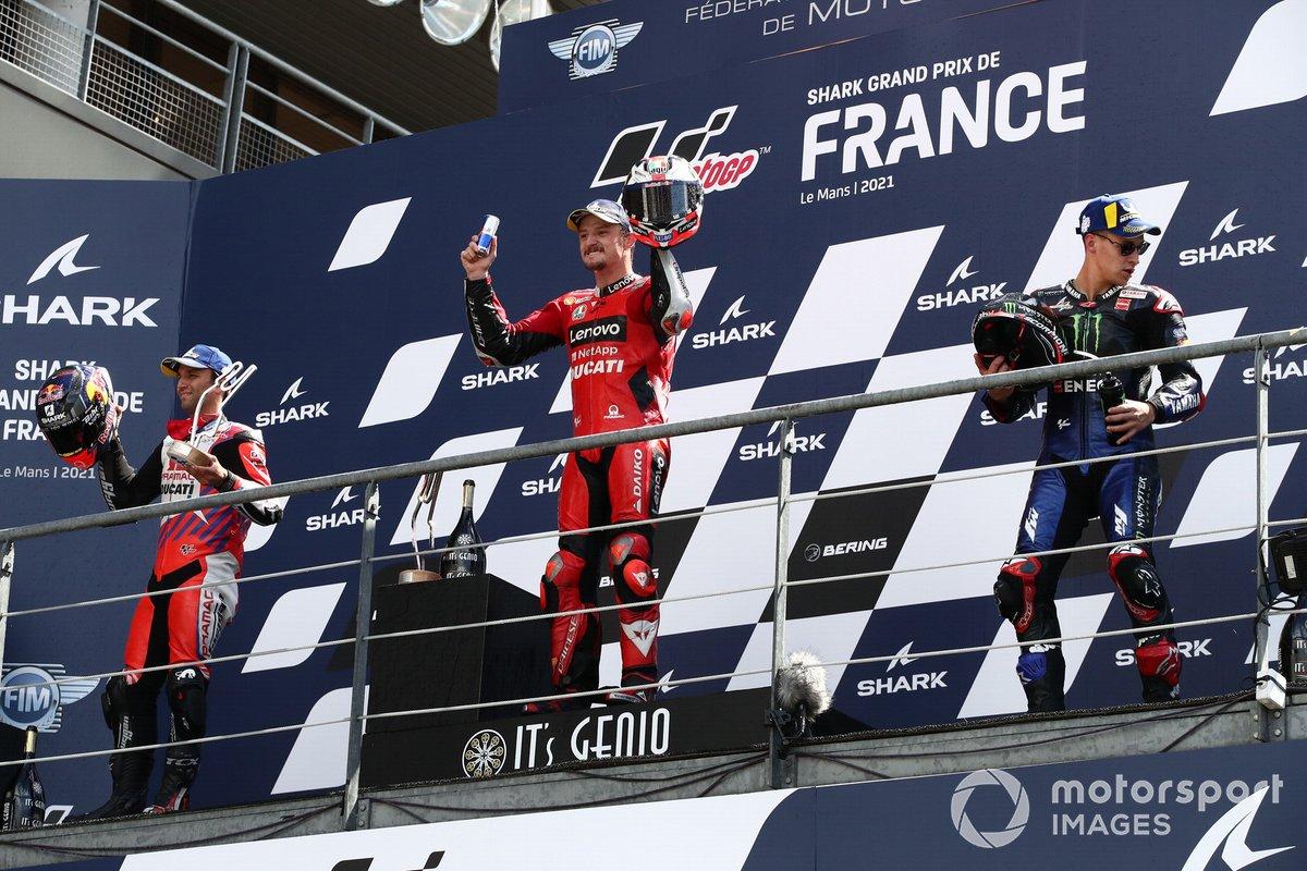Podio: 1º Jack Miller, Ducati; 2º Johann Zarco, Pramac Racing; 3º Fabio Quartararo, Yamaha Factory Racing
