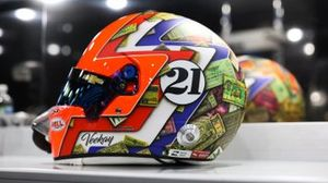 Rinus VeeKay, Ed Carpenter Racing Chevrolet helmet with historic Indianapolis 500 tickets featured