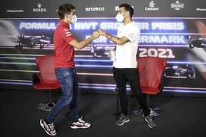Charles Leclerc, Ferrari and Daniel Ricciardo, McLaren in the Press Conference