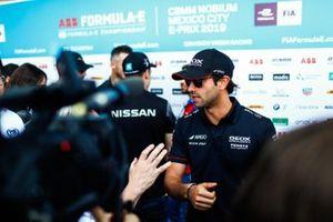Felipe Nasr, Dragon Racing, Penske EV-3, talks to the press