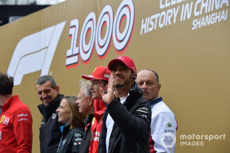 Гюнтер Штайнер, керівник Haas F1, Клер Вільямс, заступник керівника Principal, Williams Racing, Джин Хаас, власник Haas F1, Шарль Леклер, Ferrari, Фредерік Вассьор, керіник Alfa Romeo Racing, та Льюіс Хемілтон, Mercedes AMG F1