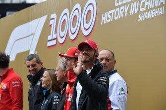 Guenther Steiner, Haas F1, Claire Williams, Williams Racing, Gene Haas, Haas F1, Charles Leclerc, Ferrari, Frederic Vasseur, Alfa Romeo Racing, y Lewis Hamilton, Mercedes AMG F1