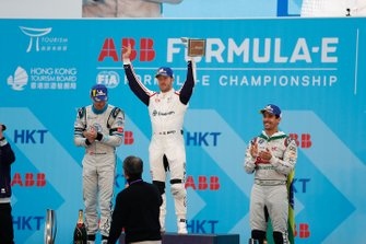 Race winner Sam Bird, Envision Virgin Racing celebrates victory on the podium alongside Edoardo Mortara, Venturi Formula E, 2nd position, Lucas Di Grassi, Audi Sport ABT Schaeffler, 3rd position