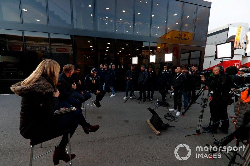 Rachel Brooks, Sky TV, Simon Lazenby, Sky TV, Karun Chandhok, Sky TV and Sergio Perez, SportPesa Racing Point F1 Team