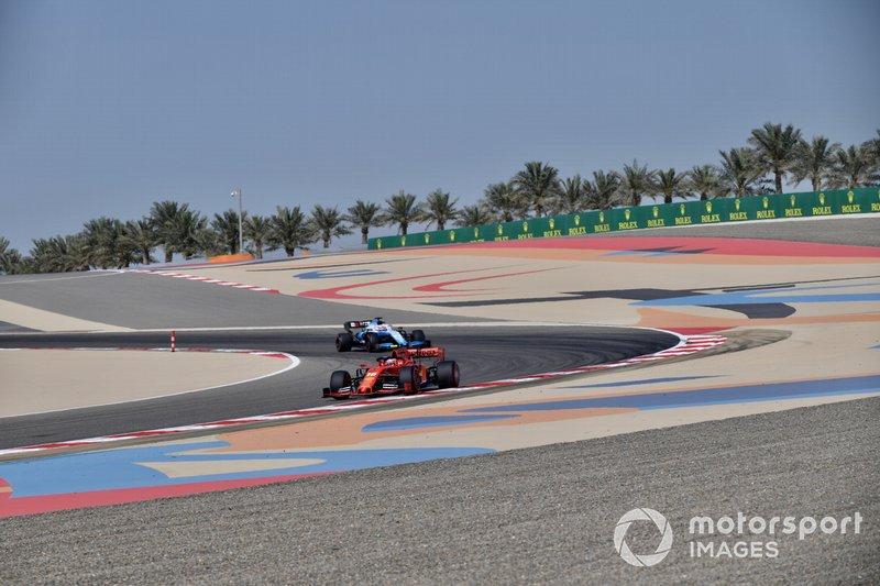 Charles Leclerc, Ferrari SF90, leads George Russell, Williams Racing FW42
