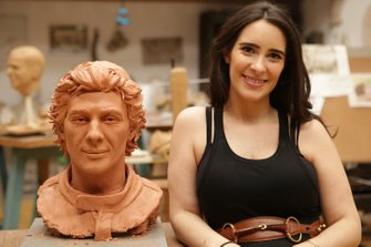 Ayrton Senna sculpture and Paula Senna Lalli