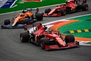 Charles Leclerc, Ferrari SF21, Daniel Ricciardo, McLaren MCL35M, and Carlos Sainz Jr., Ferrari SF21