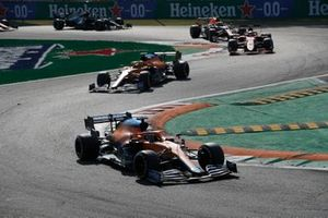 Daniel Ricciardo, McLaren MCL35M, Lando Norris, McLaren MCL35M, and Charles Leclerc, Ferrari SF21
