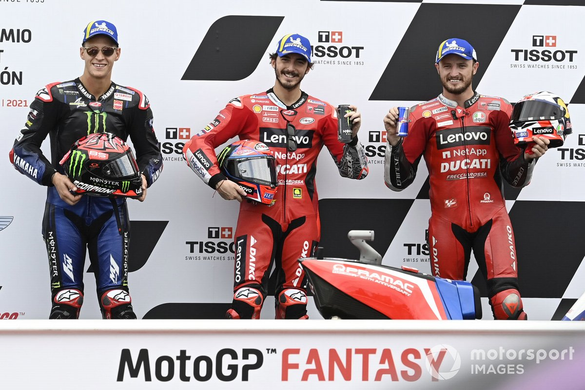 Ganador de la pole Francesco Bagnaia, Ducati Team, segundo Jack Miller, Ducati Team, tercero Fabio Quartararo, Yamaha Factory Racing
