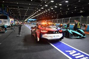 London FE pit lane with safety car