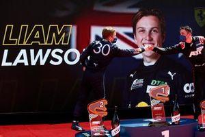 Podium: Liam Lawson, AF Corse, Kelvin van der Linde, Abt Sportsline