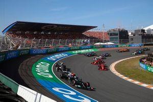 Valtteri Bottas, Mercedes W12, Pierre Gasly, AlphaTauri AT02, Charles Leclerc, Ferrari SF21, and Carlos Sainz Jr., Ferrari SF21