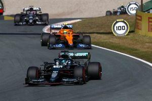 Lance Stroll, Aston Martin AMR21, Lando Norris, McLaren MCL35M, and Yuki Tsunoda, AlphaTauri AT02