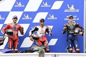 Pole sittter Jorge Martin, Pramac Racing, second place Francesco Bagnaia, Ducati Team, third place Fabio Quartararo, Yamaha Factory Racing