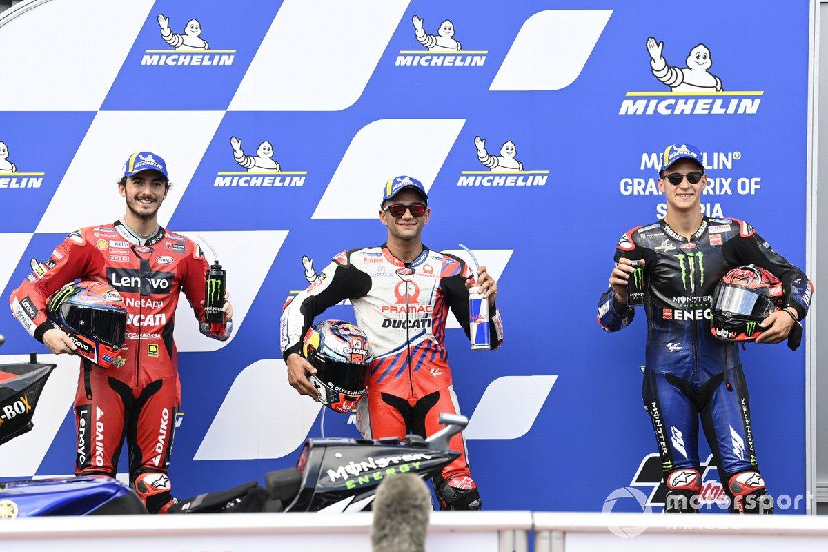 Pole, Jorge Martin, Pramac Racing, 2º Francesco Bagnaia, Ducati Team, 3º Fabio Quartararo, Yamaha Factory Racing