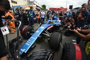 Fernando Alonso gets ready for a demonstration run in his Alpine F1