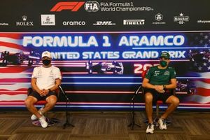 Valtteri Bottas, Mercedes and Lance Stroll, Aston Martin in the drivers press conference
