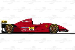 La Ferrari 412T2 pilotée par Michael Schumacher en essais en 1995<br/> Reproduction interdite, exclu