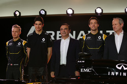 (L to R): Kevin Magnussen, Renault F1 Team with Esteban Ocon, Renault F1 Team Test Driver; Carlos Ghosn, Chairman of Renault; Jolyon Palmer, Renault F1 Team and Jerome Stoll, Renault Sport F1 President