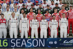 Porsche Team drivers at the group photograph (L to R): Brendon Hartley; Mark Webber; Timo Bernhard;