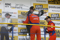Podium: #24 kfzteile24 - APR Motorsport, Audi R8 LMS: Florian Stoll, Laurens Vanthoor and #63 GRT Grasser-Racing-Team, Lamborghini Huracán GT3: Rolf Ineichen