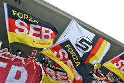 Sebastian Vettel, Ferrari fans in the grandstand