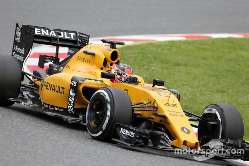 Esteban Ocon prune el R16 de Renault Sport F1 Team, en la PL1 del GP de España 2016