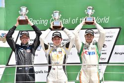 Podium: winner Pato O'Ward, Team Pelfrey, second place Jake Parsons, Juncos Racing, third place Will Owen, Juncos Racing