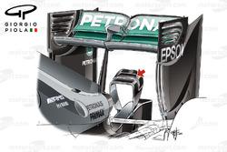 L'aileron arrière de la Mercedes W07 à Barcelone