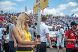 Grid girl, spectators