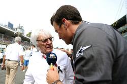 Bernie Ecclestone, with Will Buxton, NBC Sports Network TV Presenter on the grid