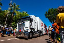 V8 Supercars transporter during the parade
